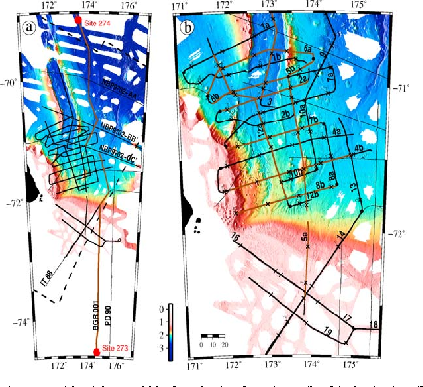 Figure 2. Bathymetric maps of the Adare and Northern basins. Locations of archival seismic reflection profiles are shown with thin black lines. MCS profiles collected during NBP0701 cruise are delineated with thick black lines. Brown lines highlight the sections of the profiles shown within this manuscript. (a) Locations of the tie lines from DSDP drill sites 273 and 274. The boundaries of the aeromagnetic survey conducted as part of GANOVEX IX 2005–2006 [Damaske et al., 2007] are shown with dashed black lines. Note that Line 14 of NBP0701 runs along the archive Line IT 88. (b) Close‐up map showing NBP0701 MCS grid lines. Black crosses indicate the location of every thousandth shot point, labeled every 2000 shot points. The profiles presented in this manuscript are ordered as follows: first, we show the tie lines (Figures 4 and 5); then, the profiles are shown with respect to their latitudinal locations, starting from the north (Figure 6, Line 6a) and ending at the south (Figure 11, Line 8b). Two additional N–S profiles are presented in Figures A1 and A2 (Lines 12a and 3).