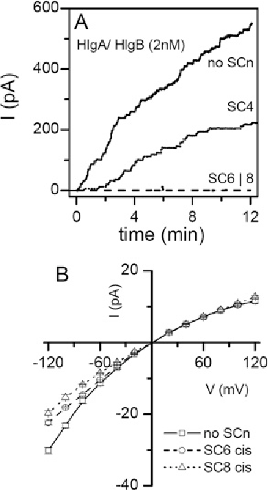 Figure 3 Effects of SCn on pore insertion in planar lipid bilayers