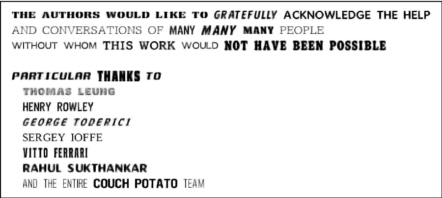 Fig. 9. Acknowledgments displaying 24 synthesized fonts (from test set only).