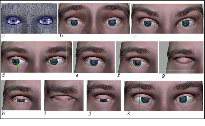 Fig. 2 3D mesh (a); AU 1 (b); AU 2 (c); change in gaze direction -- looking right-- (d); restricted pupil (e); dilated pupil (f); right blink (g); AU 7 (h); tightening of the right eyelid (i); change in gaze direction --looking down-- (j); vergence movement (k). (the eyelashes have been hidden to better represent changes in pupil size and gaze direction). The meaning of AU is explained in the text before Fig. 1