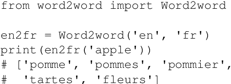 Figure 4 for word2word: A Collection of Bilingual Lexicons for 3,564 Language Pairs