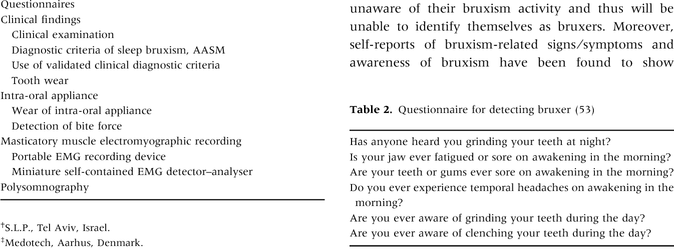 Table 2. Questionnaire for detecting bruxer (53)