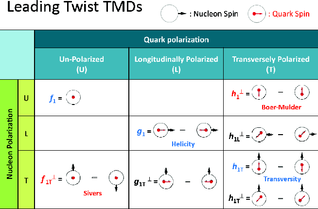 Figure 1.8: The TMDs at leading twist of the SIDIS scattering on a nucleon. These TMDs are classified according to the polarization configurations of the nucleon and the quarks. Similar TMDs exist for the gluons.
