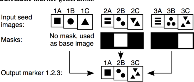 Figure 9. The process of generating a marker created from combining elements of the seed images with image masks.