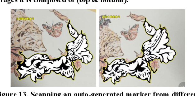 Figure 13. Scanning an auto-generated marker from different angles to yield different codes (1.3.5.2.6.3.1 on the left and 2.3.1.5.6.3.1 on the right). Uses debug mode to reveal the code.