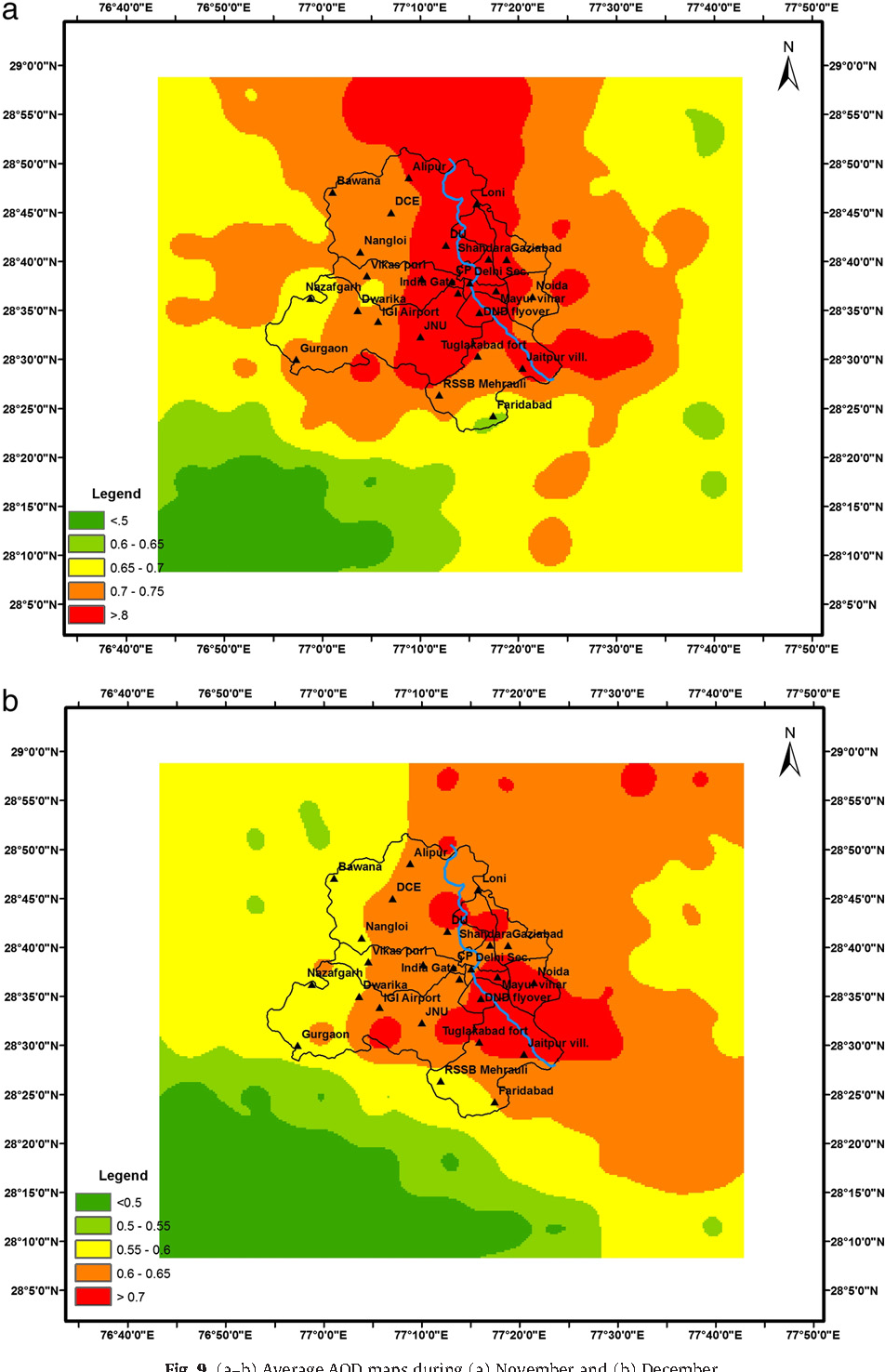 Fig. 9. (a–b) Average AOD maps during (a) November and (b) December.
