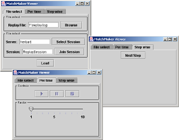 Figure 3 - The user interface for the replay client