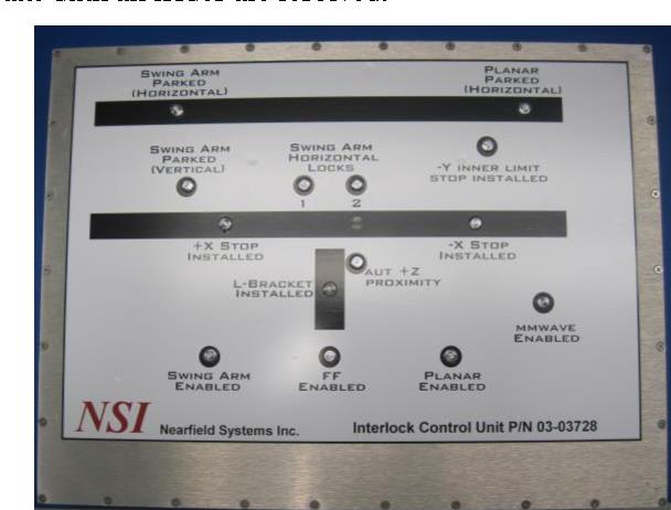 Figure 9. Front Panel Display of the Interlock Control Unit