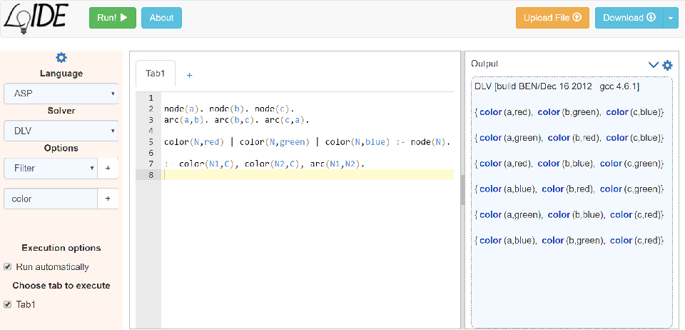Figure 1 for LoIDE: a web-based IDE for Logic Programming - Preliminary Technical Report
