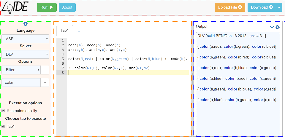 Figure 3 for LoIDE: a web-based IDE for Logic Programming - Preliminary Technical Report