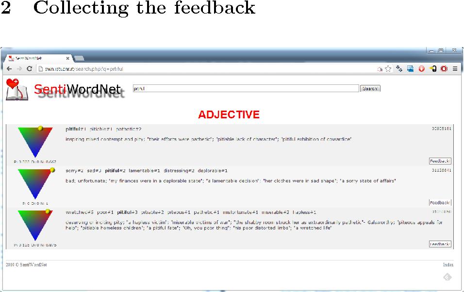 Figure 1 for The User Feedback on SentiWordNet