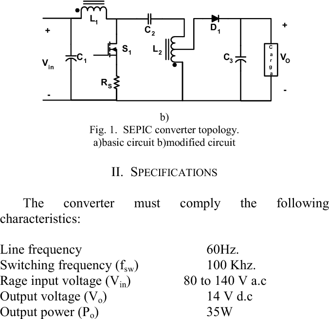 Fig. 1. SEPIC converter topology. a)basic circuit b)modified circuit