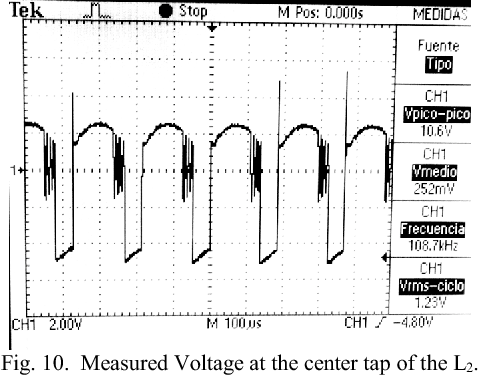 Fig. 10. Measured Voltage at the center tap of the L2.