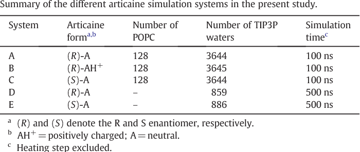 Table 1 Summary of the different articaine simulation systems in the present study.