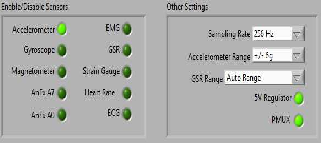 Fig. 4. Interface for sensor selection.