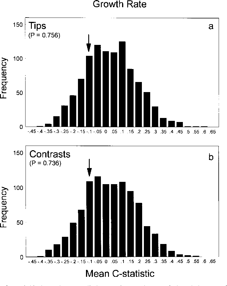 Fig. 5. The test for serial independence applied to Sessions and Larson's (1987) data set of growth rate across 18 species of plethodontid salamanders. The arrows indicate the position of the observed mean C-statistic relative to the null hypothesis sampling distribution of randomized mean C-statistics. An asterisk indicates that the P-value of the observed mean C-statistic is statistically significant at an alpha of 0.05. The frequency distribution in (a) represents the mean C-statistics calculated from the growth rate data along the tips of the phylogeny (tips), whereas the frequency distribution in (b) represents the mean C-statistics calculated from independent contrasts.