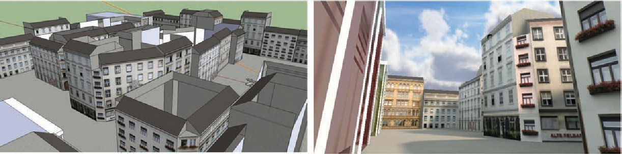 Fig. 4. Low-polygon model in Google SketchUp and its representation in Unity3D.