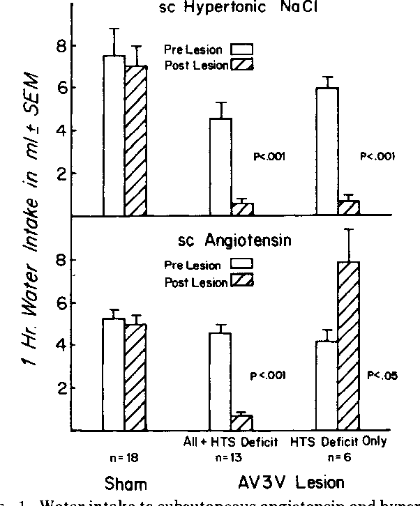 FIG. 1. Water intake to subcutaneous angiotensin and hypertonic NaCl challenges for AV3V lesioned and sham-lesioned rats. Postlesion values are the mean of 2 or more tests.