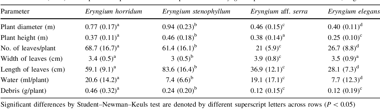 Table 1 Mean (±SD) of morphometric parameters from 80 plants of four Eryngium species in Sierra de la Ventana, Argentina