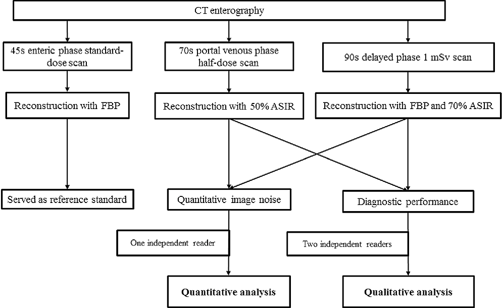 Fig. 2. Flow chart of the study process. FBP filtered back projection, ASIR adaptive statistical iterative reconstruction, mSv millisievert.