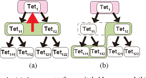 Figure 4: (a) A coarse to fine switchable case and (b) an unswitchable case. The green area is the tetrahedron front and pink area is the candidate tetrahedron to switch.