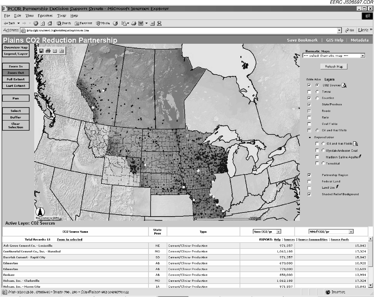 Figure 3. Screen capture from the EERC's DSS system in use as a source locator. The light dots shown on the PCOR Partnership region show the locations of the region's cement kilns. Data at the bottom correspond to the kilns.