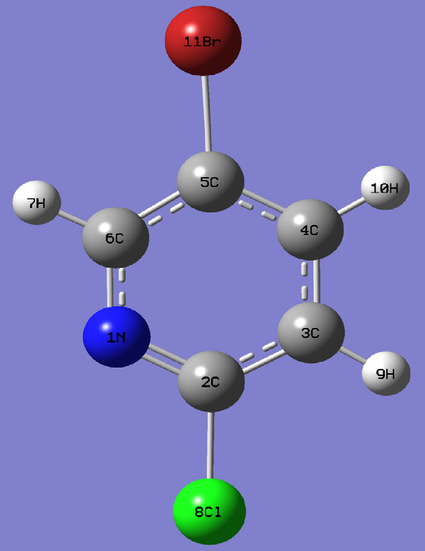 Fig. 1. Molecular structure of 2-chloro-5-bromopyridine.