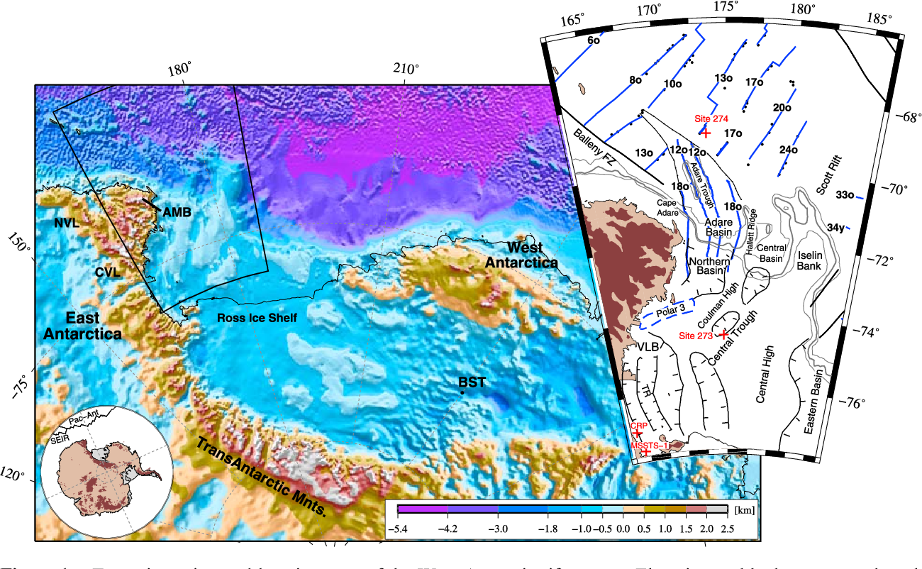 Figure 1. Tectonic setting and location map of the West Antarctic rift system. Elevation and bathymetry are based on the BEDMAP compilation of Lythe and Vaughan [2001]. Large inset shows the main structural elements of the Adare Basin and western Ross Sea. Blue lines delineate magnetic lineations. Anomalies 18o and 12o run continuously from the Adare Basin into the Northern Basin (based on archival shipboard magnetic data and aeromagnetic data of Damaske et al. [2007]). Dashed blue line denotes a large magnetic anomaly (Polar 3). Locations of drill sites are shown with red crosses. Gray lines delineate the 1000, 1500, and 2000 m contours. NVL, Northern Victoria Land; AMB, Admiralty Mountains Block; CVL, Central Victoria Land; BST, Bentley Subglacial Trench; SEIR, South East Indian Ridge; Pac‐Ant, Pacific‐Antarctic ridge; VLB, Victoria Land Basin; TR, Terror Rift.