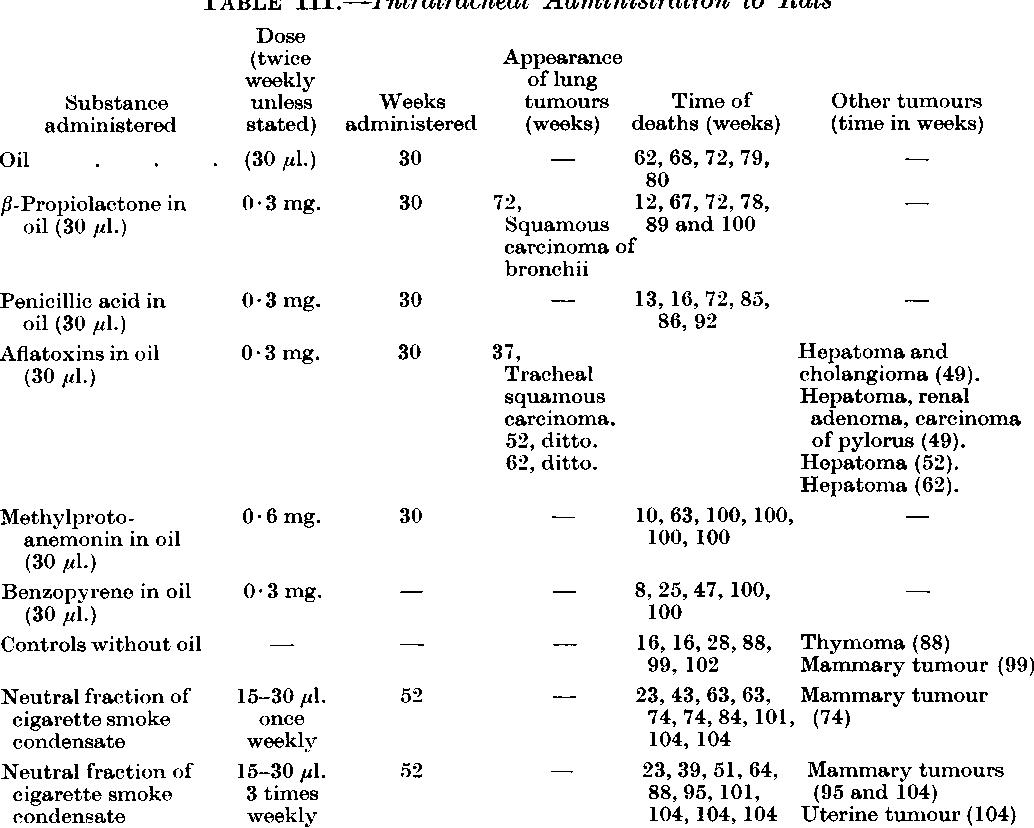 TABLE III.-Intratracheal Administration to Rats