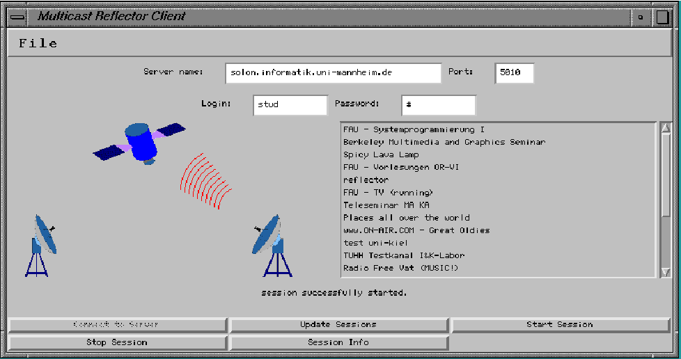 Figure 7: The graphical user interface of the client