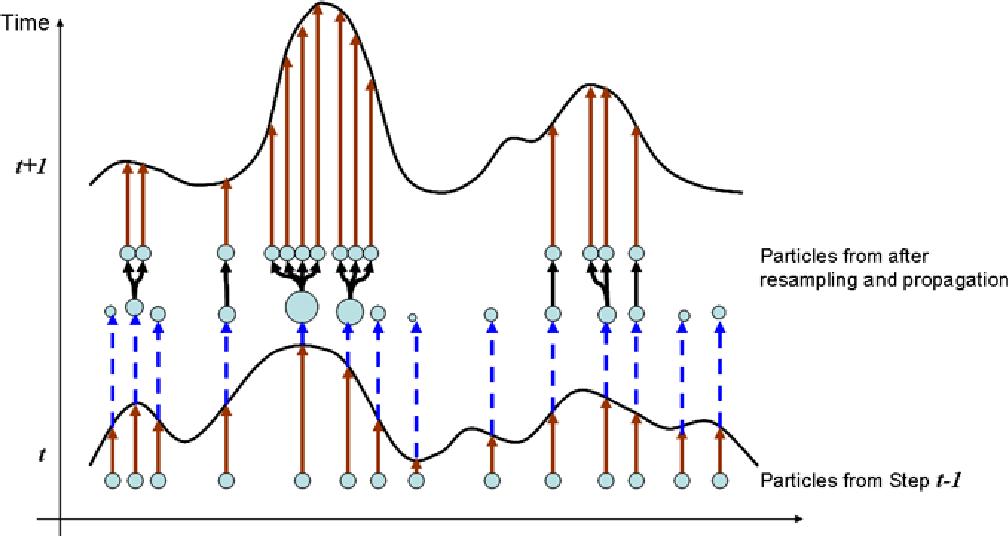 Figure 4.15: A pictorial description of particle filtering.