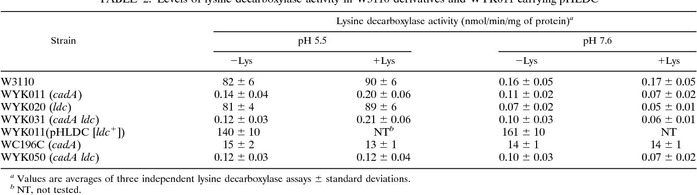 lysine decarboxylase activity - Semantic Scholar