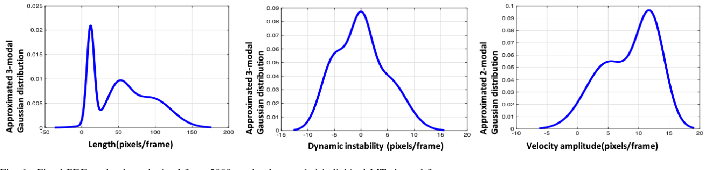Fig. 6. Fitted PDF to the data obtained from 5000 randomly sampled individual MTs in real frames.