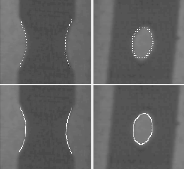 Fig. 5. Example of DLH edge extraction. Top row: DLH edge pixels extracted by applying a Canny edge detector without interpolation; bottom row DLH edge pixels extracted with sub-pixel precision by applying a Canny edge detector with interpolation.