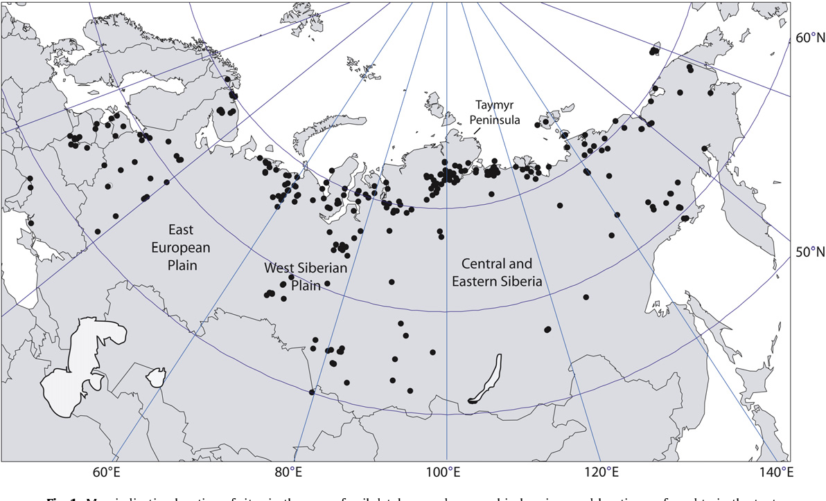 Fig. 1. Map indicating location of sites in the macrofossil database