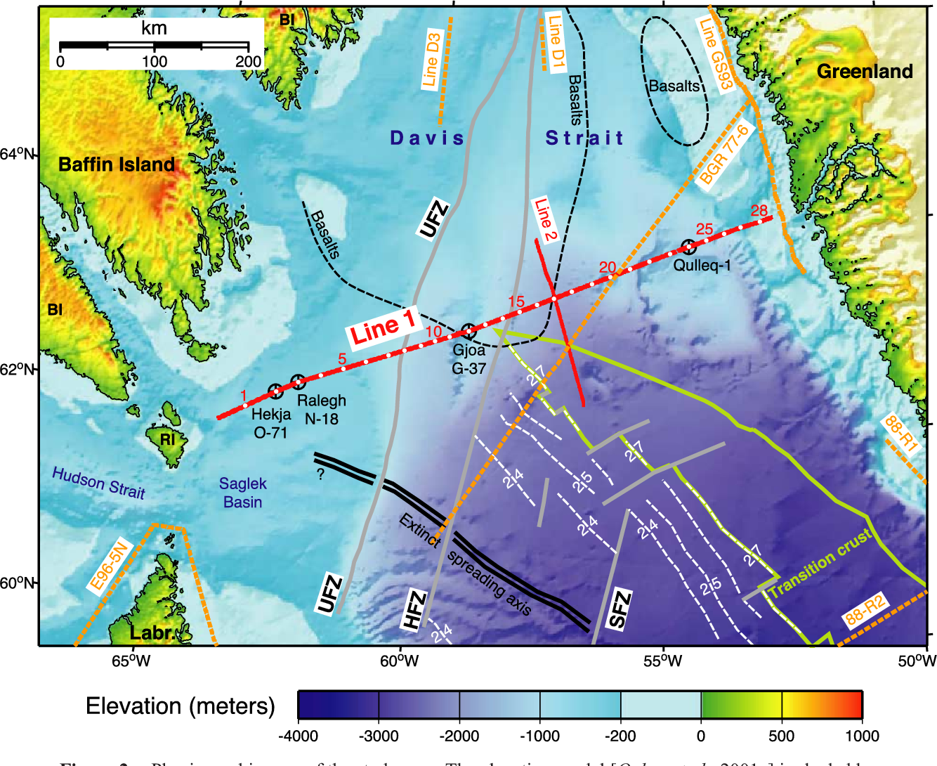 Map Of Canada Davis Strait.Figure 2 From Seismic Study Of The Transform Rifted Margin In Davis