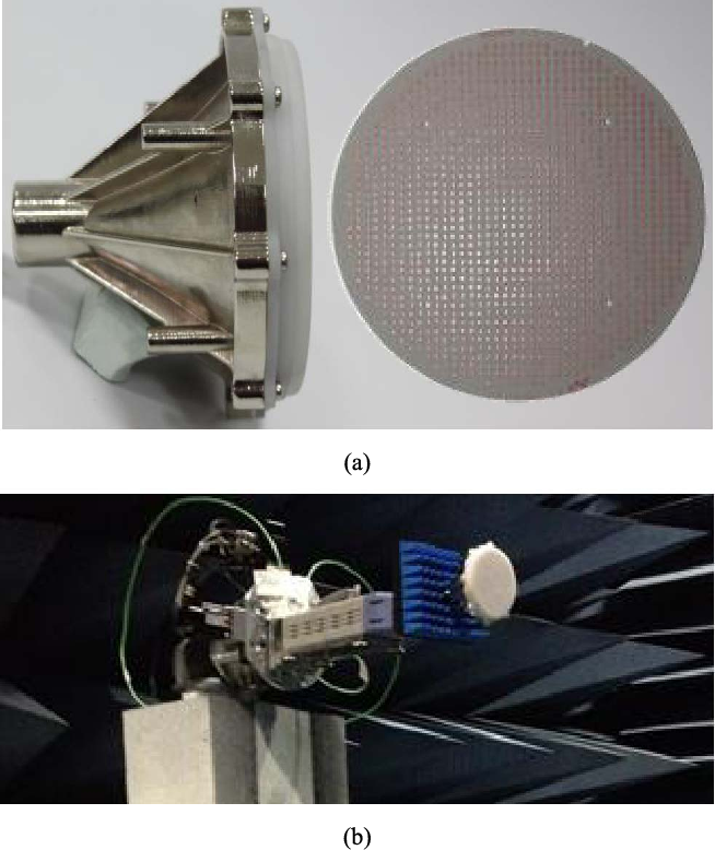 Fig. 7. Fabricated linearly polarized transmitarray. (a) Picture of fabricated array. (b) Picture of the transmitarray in the anechoic chamber during the measurement.