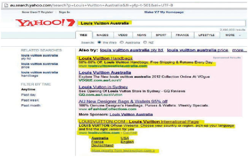 Figure 3. Yahoo's search results page