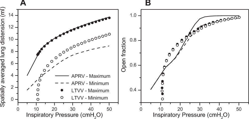 Fig. 5. Predicted spatially averaged lung tissue distension (A) and open lung fraction (B) in lung-injured rats. The maximum and minimum values for APRV with a EEF/PEF of 75% and 5 PI 50 cmH2O are shown with solid and dashed lines, respectively. Also shown are the maximum ( ) and minimum (Œ) for LTVV with 0 PEEP 24 cmH2O.