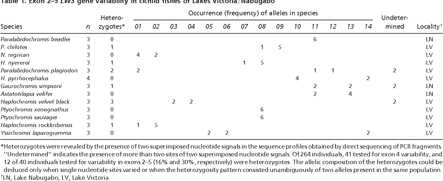 Table 1. Exon 2–5 LWS gene variability in cichlid fishes of Lakes Victoria Nabugabo