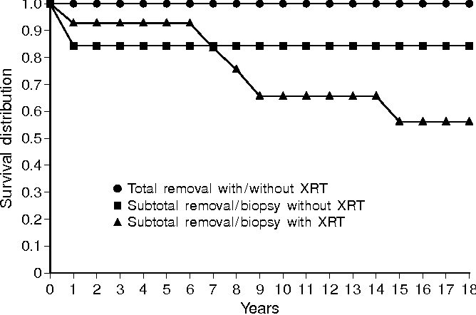 Fig. 6 Comparison of product-limit estimates of survival in 37 patients (from [6], [36], and this series) treated with total removal or less than total removal, with or without radiotherapy