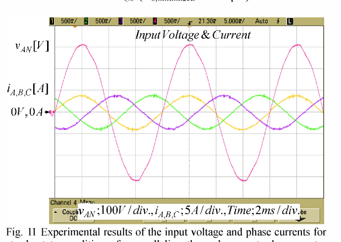 Fig. 11 Experimental results of the input voltage and phase currents for steady-state condition of a paralleling three-phase ac-to-dc converter with Co,