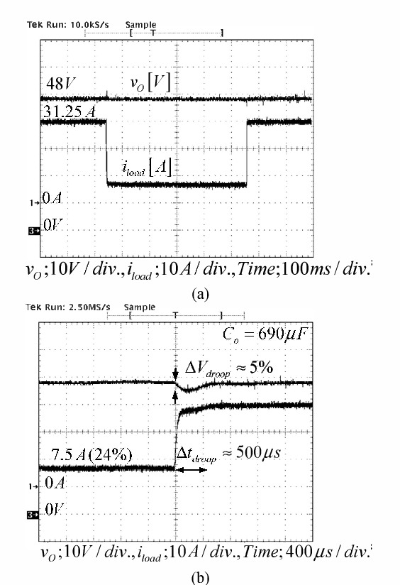 Fig_ 14 Experimental waveforms: (a) dc bus voltage and load current at step load change from 24% (0.36kW) to 100% (1_5kW) and vice versa, (b) closed-up of step load change_
