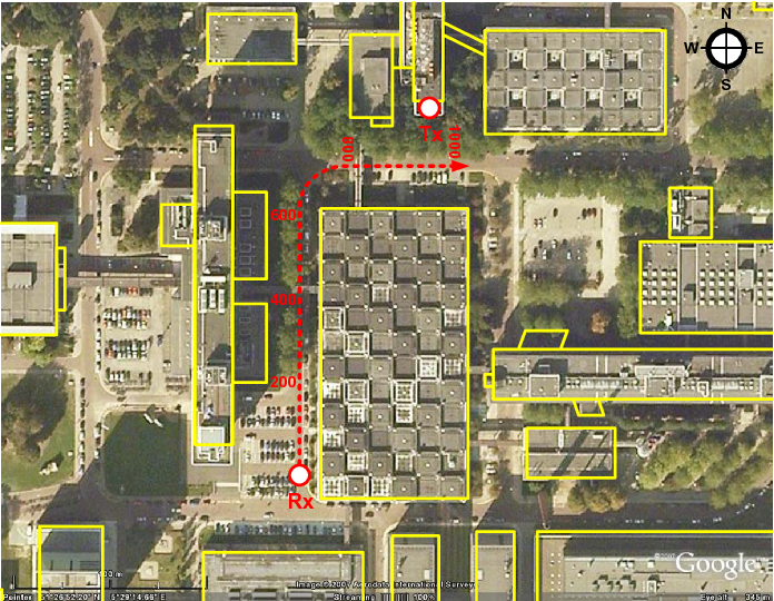 Figure 1: Layout of the measurement site. Copyright: Google Earth, http://earth.google.com