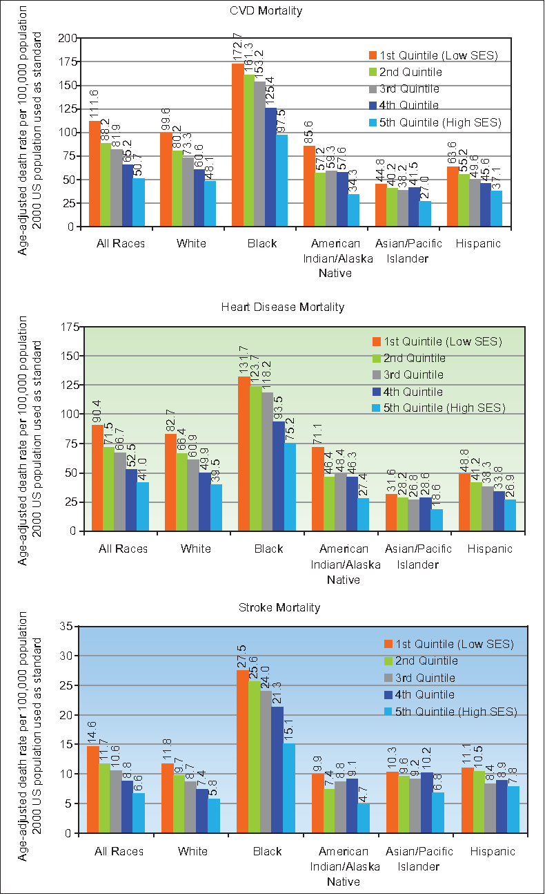 Figure 3. Cardiovascular Disease (CVD), Heart Disease, and Stroke Mortality by Race/Ethnicity and Socioeconomic Deprivation Level, United States, 2007-2011