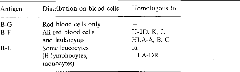 Table 1. Chicken MHC antigens: distribution on blood cells and homology to mouse and human MHC antigens (for reviews, see Hfila 1977, Longenecker and Mosmann 1981a, Simonsen 1981)