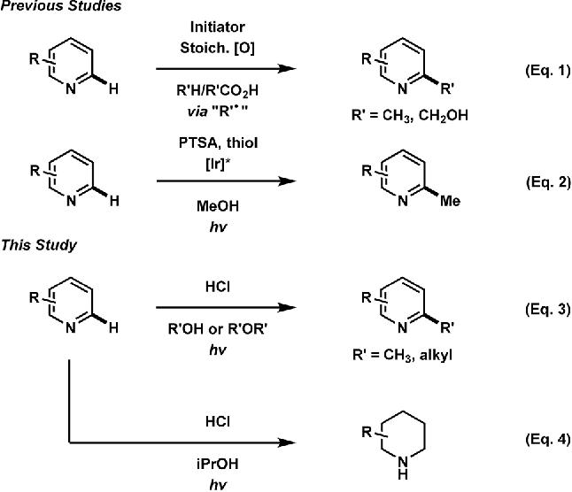 Fig. 1 Previous and present work in direct heteroarene alkylation.