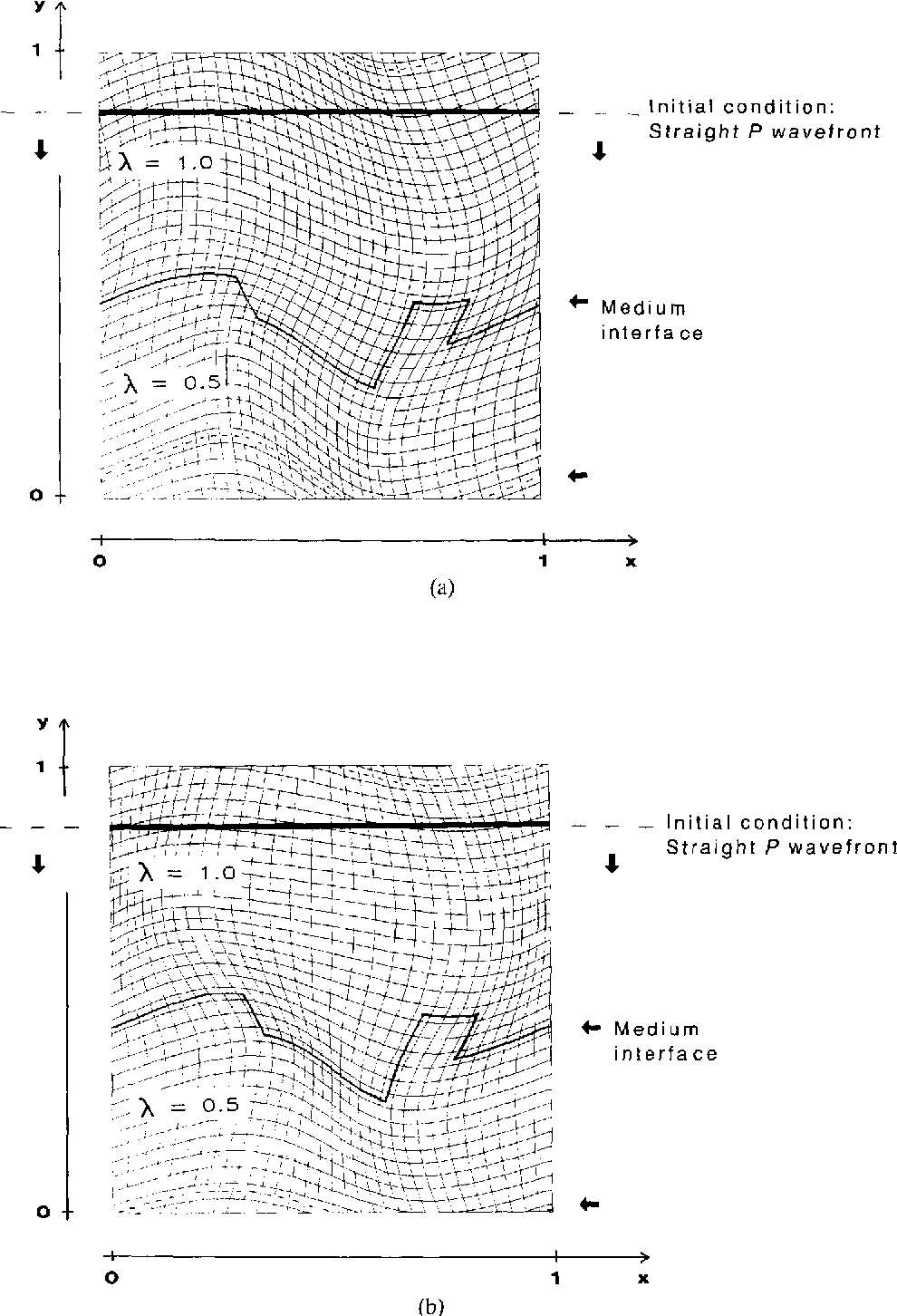 FIG. 6. Initial conditions and medium parameters in test case 2. (a) and (b) show two different mappings, denoted grid 1 and grid 2, respectively. for the same problem.