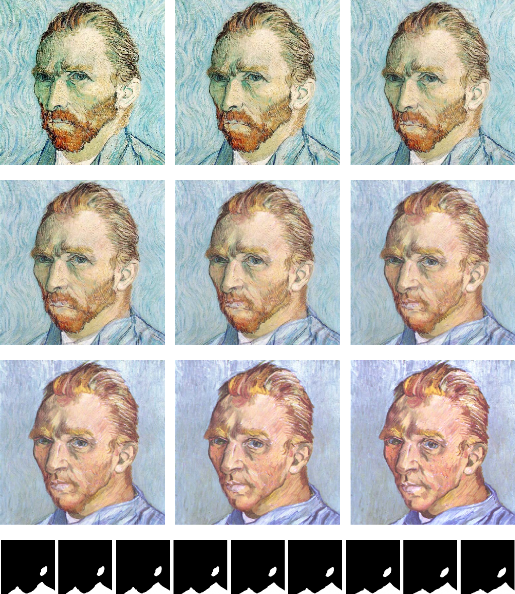"FIG. 6.6. Metamorphosis between two ""van Gogh self-portraits"" using the energy (6.2) for K = 8 and δ = 10−2 including the fourth (segmentation) channel (bottom row)."