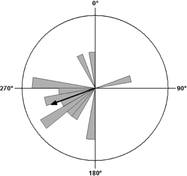 Fig. 2 Circular distribution of mean headings of 17 R. marina radio-tracked in recently colonized locations (Western Australia). The toads showed significant directionality in their overnight movements, travelling at a mean angle of 254